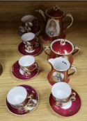 A Russian Gardner factory coffee set c.1900, each piece decorated with a portrait (25)
