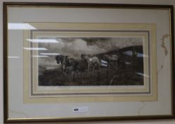 Herbert Thomas Dicksee (1862-1942), etching, Ploughing scene, signed in pencil, 24 x 55cm