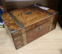 A Victorian brass-bound burr walnut writing slope fitted two ink bottles, W 35cm