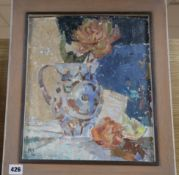 Noni McCrone (Scottish fl. 1960-1980), 'Italian Jug', initialled, oil on board, 35 x 29cm
