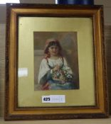 Mary Ann Eliza Hine (Nee Egerton 1817-1901), watercolour, Italian flower girl, signed and dated