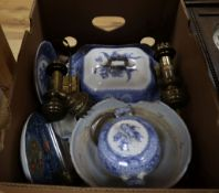 A faience bowl (a.f.). Victorian dinnerware, a pair of brass carriage lamps, etc.