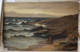 Macgregor Wilson, oil on canvas, Wrecker on the shore, signed and dated 1890, 51 x 76cm, unframed