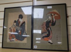 Otamaro, two Japanese woodblock prints, signed, largest 37 x 24cm