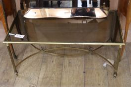 A Maison Jansen style brass and glass coffee table W.89cm