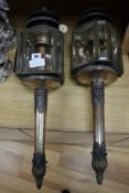 A pair of Victorian Old Sheffield plate carriage lamps height 68cm