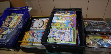 1980's - 2010 comics, six boxes of Simpsons, Beano and Marvel comics