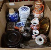 A quantity of Satsuma, Kutani, hardwood stands, etc.