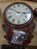 A Victorian mahogany drop dial wall timepiece height 54cm