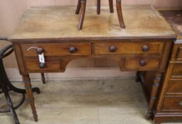 A Regency mahogany kneehole side table W.99cm
