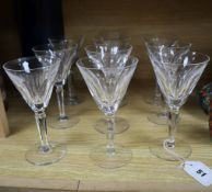 A set of ten Waterford cut glass wine glasses