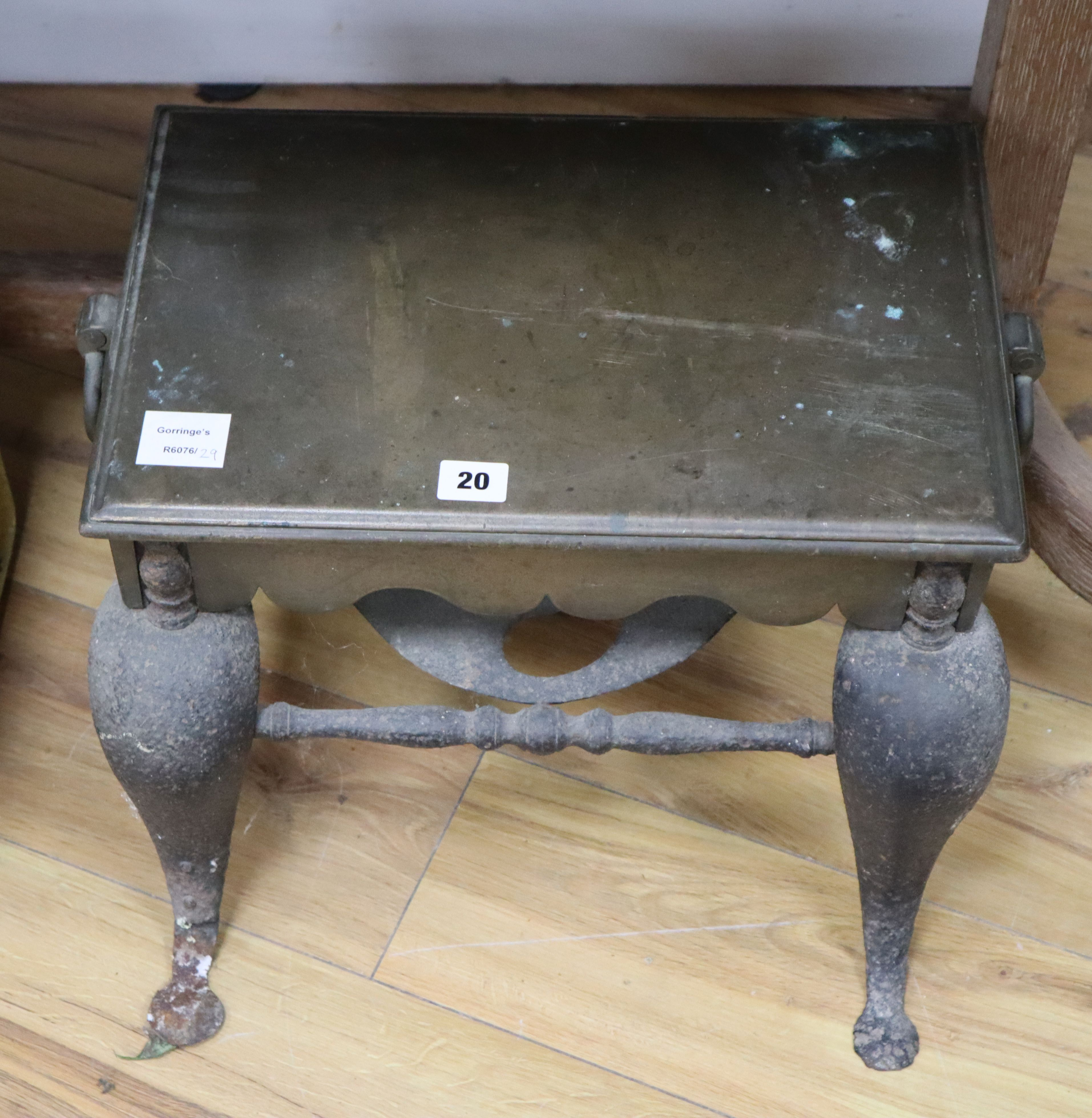 Lot 20 - A 19th century brass and wrought iron footman