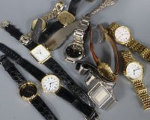 A small group of assorted gentleman's wrist watches including 9ct gold retailed by Mappin & Webb and