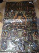 A Tibetan Thangka panel painted on linen with multiple deities 70 x 44cm
