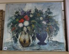 Antal Jancsek (Hungarian 1907-1985), oil on canvas, Still life of flowers in vases, signed, 50 x