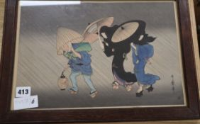 Two Japanese woodblock prints, largest 25 x 37cm