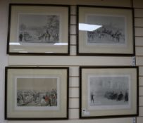 J. Ryman publ., set of four lithographs, A scene at the Brocas; Cricket match; Supper at Surley