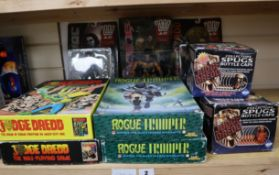 Judge Dredd/2000AD/Rogue Trooper - four board games, 3 carded action figures and collectors spugs