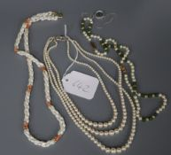 A three-strand cultured pearl necklace, with 9ct white, diamond and sapphire-set clasp and three