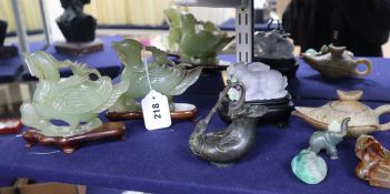 A Chinese jadeite rabbit and various Chinese hardstone carvings etc.