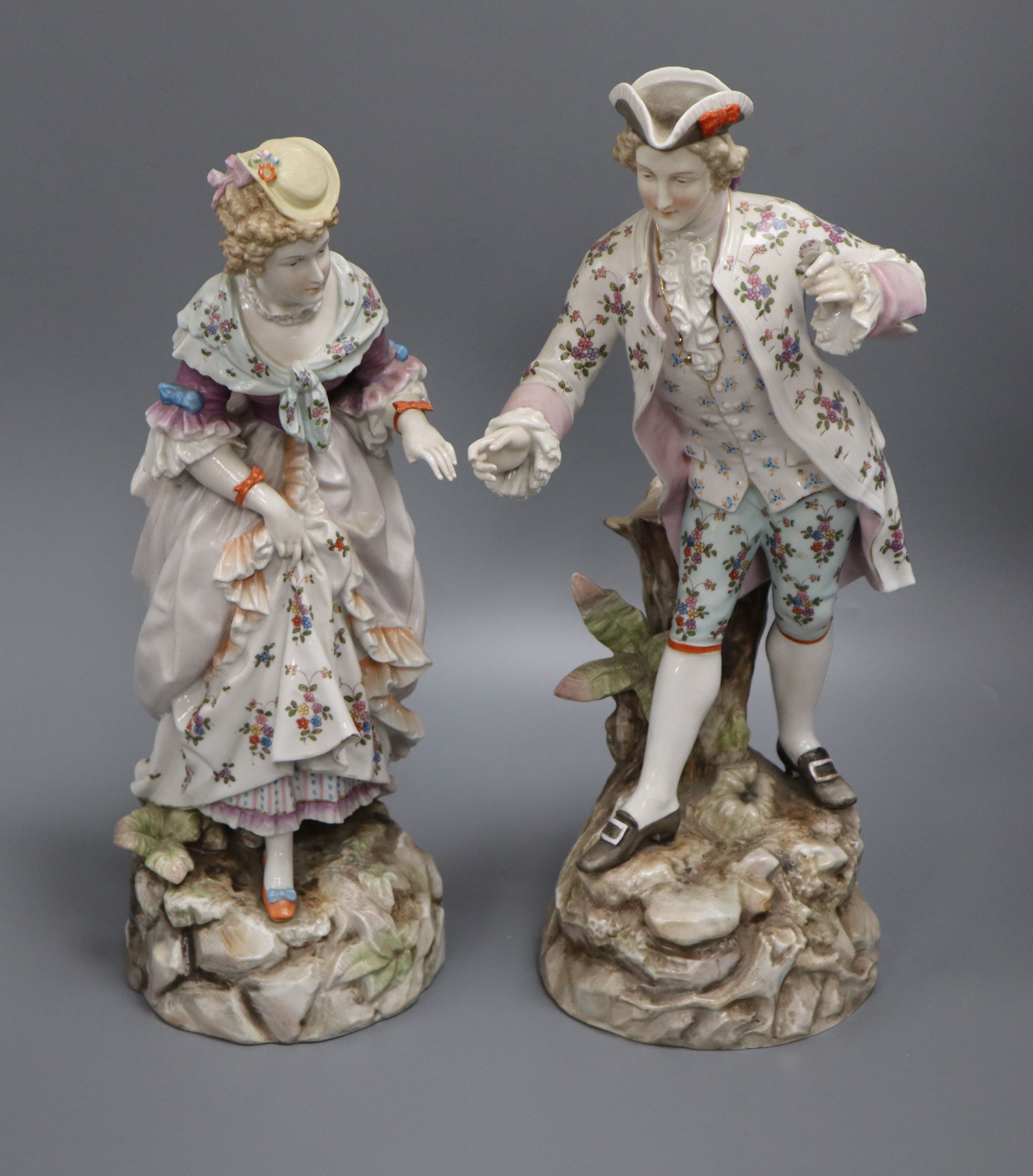 Lot 35 - A pair of Rudolstedt Volkstedt porcelain figures height 37cm