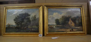 Attributed to Richard Hilder (1830-1851), pair of oils on canvas, Figures camping and Waterside