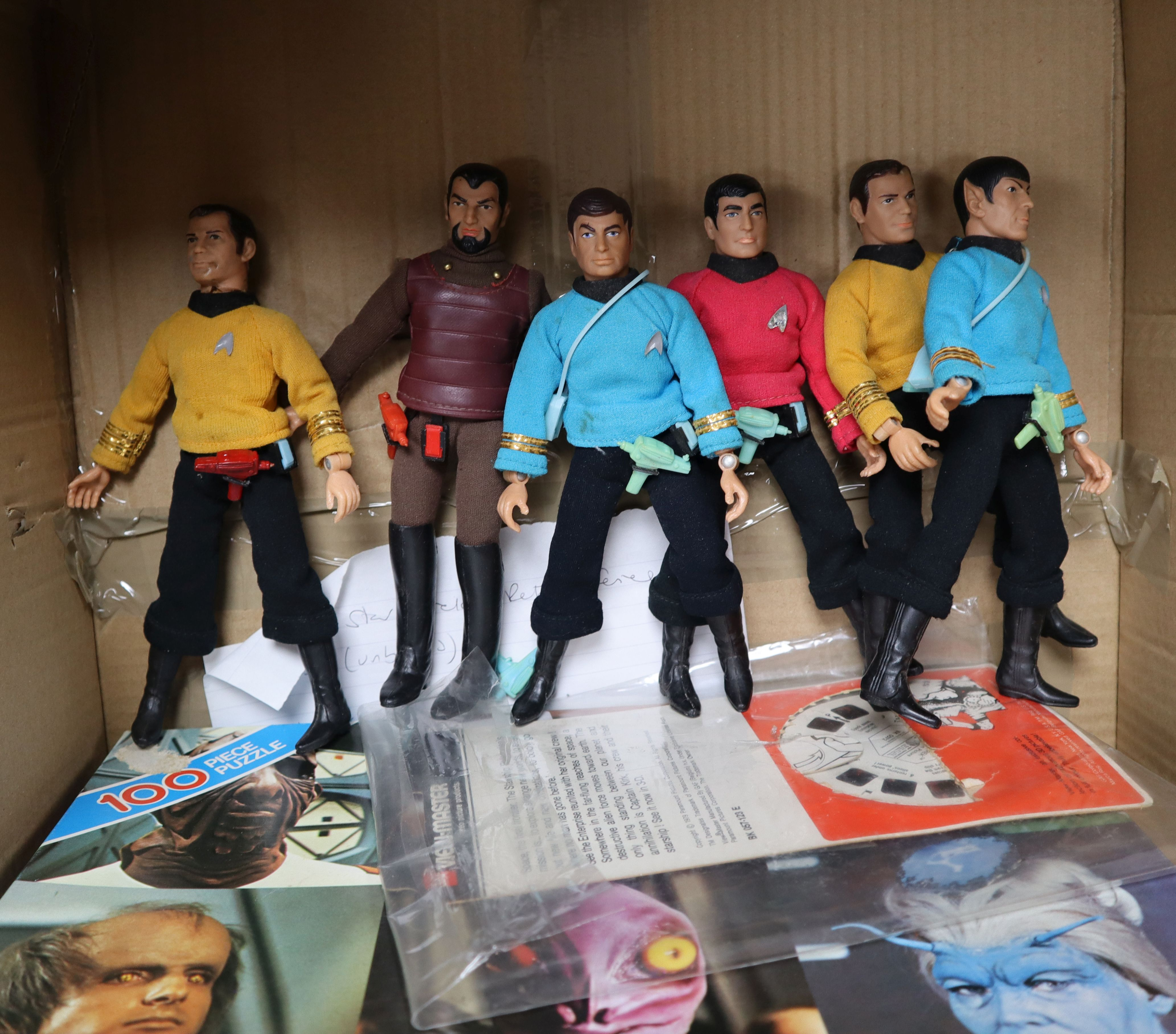 Lot 6 - Star Trek - Mego - six vintage Star Trek action figures, c.1974, a vintage puzzle and viewmaster