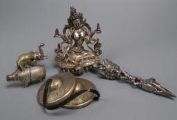 An Indian deity, ornaments etc