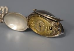 A St. James House Company silver and silver gilt novelty pendant watch in the form of a tulip,