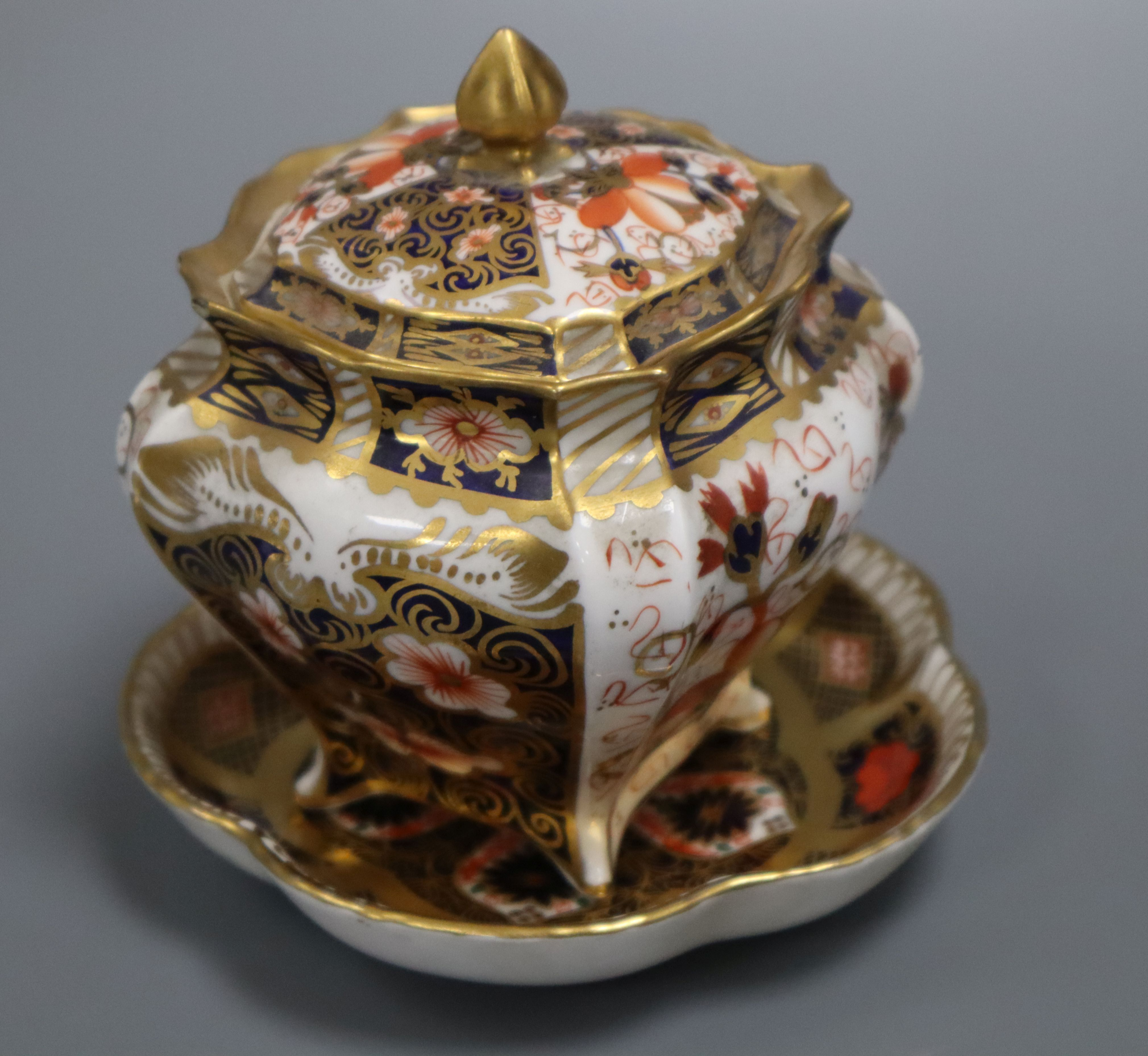 Lot 48 - A Royal Crown Derby casket and dish height 10cm