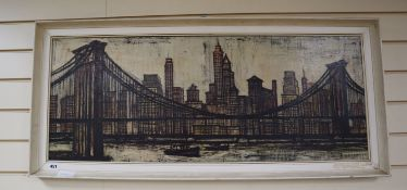 After Bernard Buffet, oileograph, View of Manhattan, 39 x 97cm