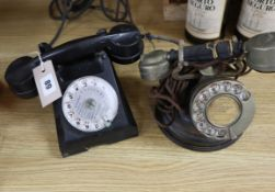 Two vintage French telephones