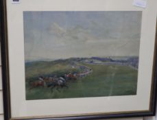 Lionel Edwards, watercolour, The Racecourse at Brighton, signed, Roland Ward label verso, 36 x 46cm