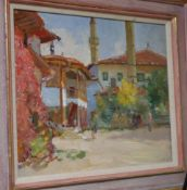 Eugeni Luchenko (b.1914), oil on canvas, 'Bakhchesarai, Crimea', Roy Miles Gallery label verso, 33 x