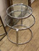 A circular glass and chrome occasional table Diameter 50cm