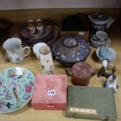 A group of 19th / 20th century Japanese and Chinese ceramics and wood stands