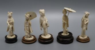 Five early 20th century Japanese carved ivory figures