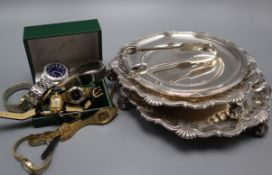 Mixed items including assorted wrist watches, plated salvers, dish and plated sugar tongs.