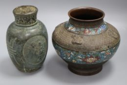 A Chinese bronze 'immortals' vase, 19th century and a Japanese bronze and champleve enamel vase