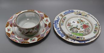 A Spode stone china double peacock pattern plate tureen and two Spode floral plates