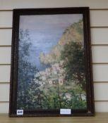 L.H. Camejo, oil on board, Italian coastal landscape, signed, 50 x 35cm