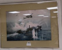 Frank Wootton, colour print, Bombers attacking a merchant ship, mount signed in pencil, 35 x 51cm