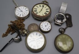 A lady's Omega watch, two other wristwatches and five pocket watches including military.