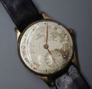 A gentleman's 1940's 9ct gold Omega manual wind wrist watch, with Roman dial and subsidiary seconds,