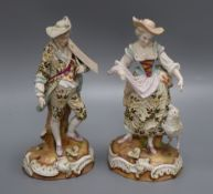 A pair of Continental porcelain figures height 28cm (a.f.)