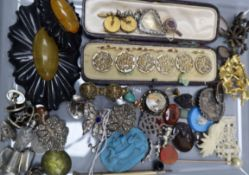 Mixed bijouterie, including paste set butterfly clip, rings, marcasite dress clips, seals,
