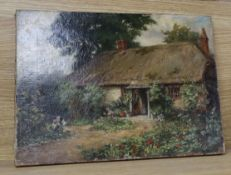 19th century English School, oil on canvas, Lady by weathered cottage and garden, 30 x 40cm,