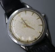 A gentleman's early 1950's stainless steel Omega automatic wrist watch, movement c.351, on