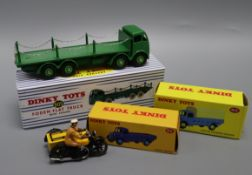Dinky Toys - Foden 905, Austin 413 and 412 (boxed) and an AA Motorcycle and sidecar