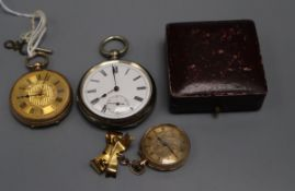 An early 20th century 9ct gold fob watch, a 10k fob and a silver pocket watch.